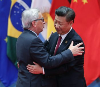 HANGZHOU, CHINA - SEPTEMBER 04:  Chinese President Xi Jinping (right) hug with President of the European Commission Jean-Claude Juncker to the G20 Summit at the Hangzhou International Expo Center on September 4, 2016 in Hangzhou, China. World leaders are gathering in Hangzhou for the 11th G20 Leaders Summit from September 4 to 5.  (Photo by Lintao Zhang/Getty Images)